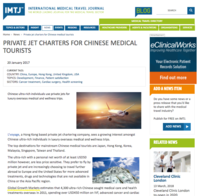 IMTJ Private jet charters for Chinese medical tourists 170120