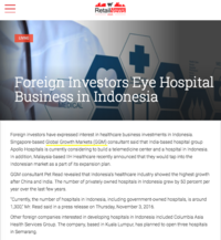 Retail News Asia Foreign Investors Eye Hospital Business in Indonesia 161105