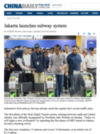 China Daily Jakarta launches subway system short 190328