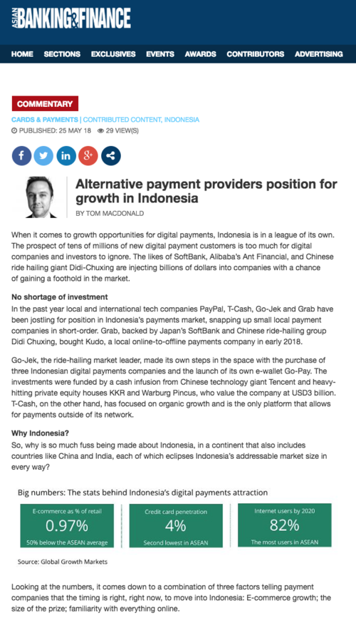 Asian Banking and Finance Alternative payment providers position for growth in Indonesia 180525