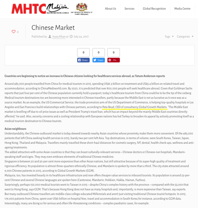 MHTC Chinese market   attracting China's outbound medical tourists 170724