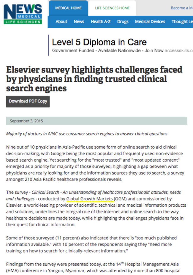 News Medical Elsevier survey highlights challenges faced by physicians in finding trusted clinical search engines 150903