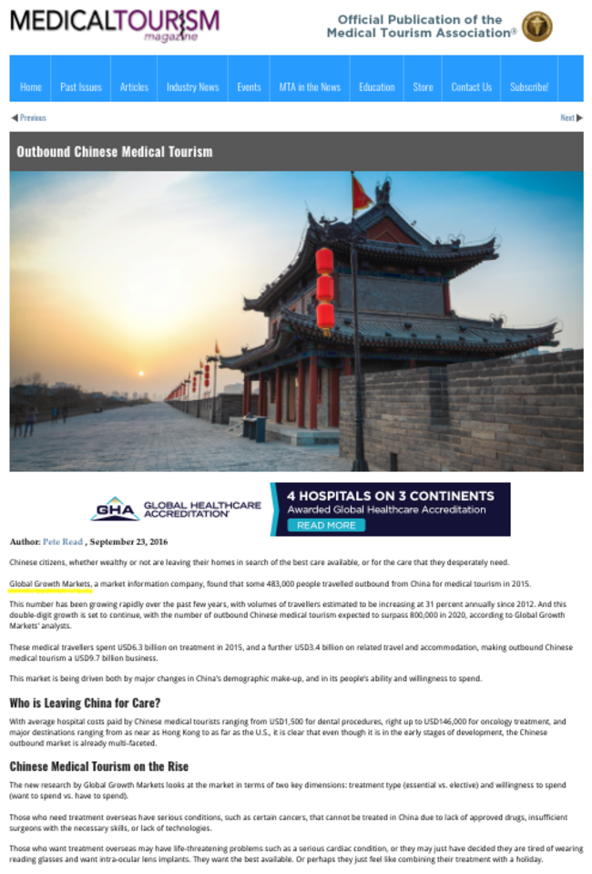 Medical Tourism Magazine Outbound Chinese medical tourism 160923